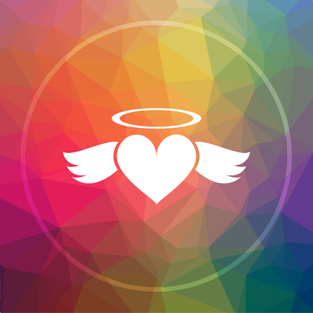 Heart angel icon. Heart angel website button on low poly background.