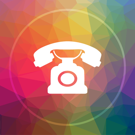 customer service phone: Phone icon. Phone website button on low poly background. Stock Photo