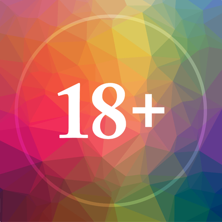 18 plus icon. 18 plus website button on low poly background.