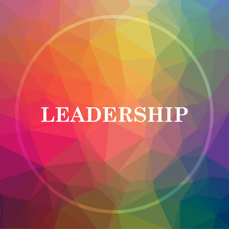 superintendence: Leadership icon. Leadership website button on low poly background.