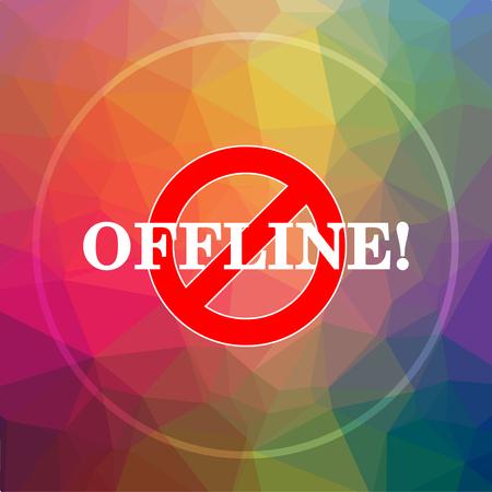 offline: Offline icon. Offline website button on low poly background.