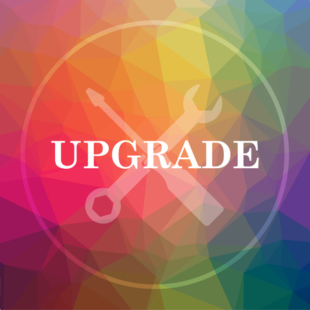 Upgrade icon. Upgrade website button on low poly background.