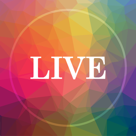 live stream tv: Live icon. Live website button on low poly background.