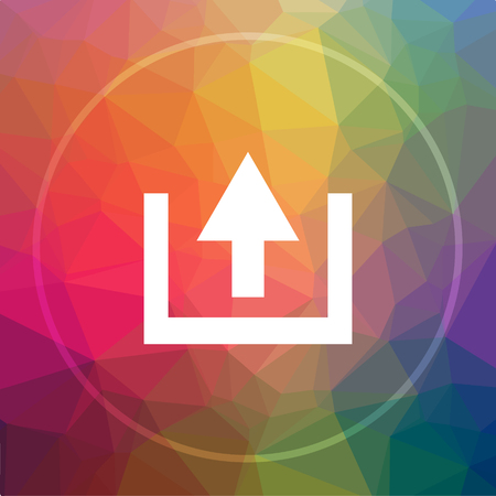 Upload icon. Upload website button on low poly background. Stock Photo