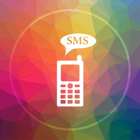 SMS icon. SMS website button on low poly background. Stock Photo