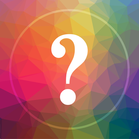 Question mark icon. Question mark website button on low poly background.