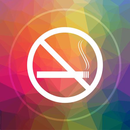 No smoking icon. No smoking website button on low poly background.