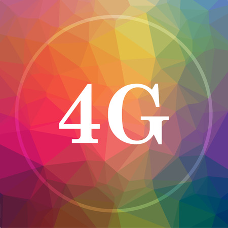 3g: 4G icon. 4G website button on low poly background.