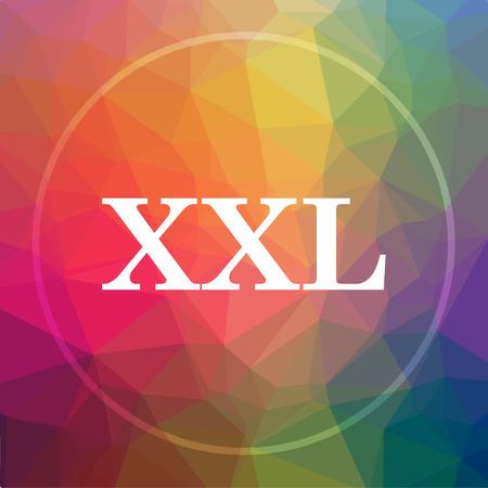 XXL  icon. XXL  website button on low poly background.