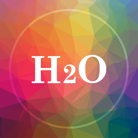 H2O icon. H2O website button on low poly background. Stock Photo