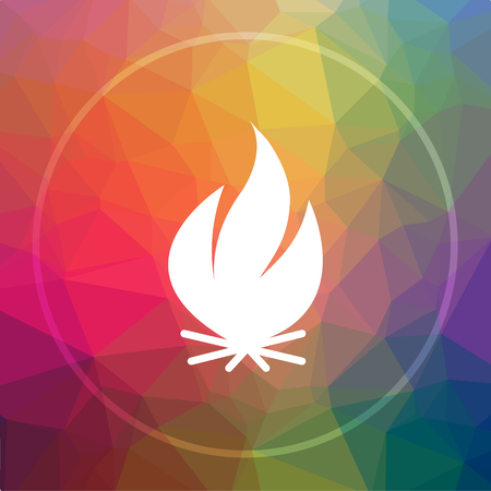 inflammable: Fire icon. Fire website button on low poly background. Stock Photo