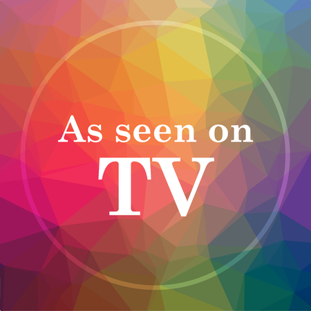 As seen on TV icon. As seen on TV website button on low poly background.