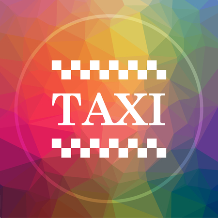 Taxi icon. Taxi website button on low poly background. Stock Photo
