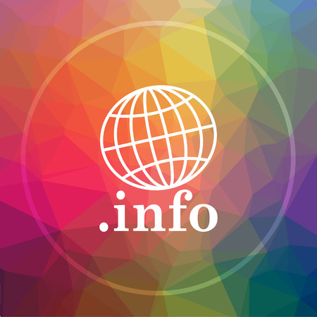 .info icon. .info website button on low poly background. Stock Photo