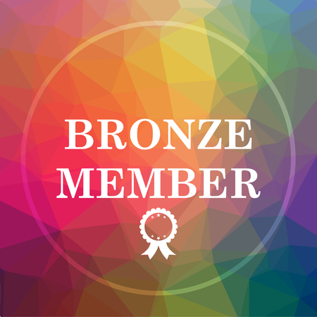members only: Bronze member icon. Bronze member website button on low poly background.