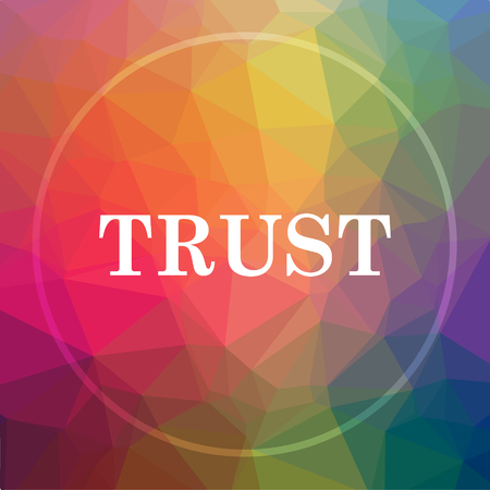 trusted: Trust icon. Trust website button on low poly background.