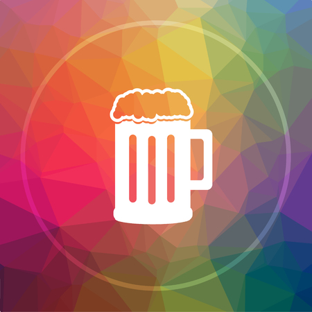 Beer icon. Beer website button on low poly background. Stock Photo
