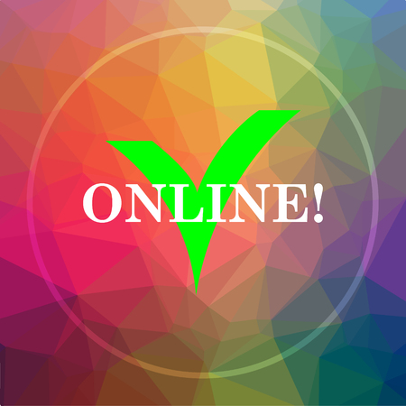 Online icon. Online website button on low poly background. Stock Photo