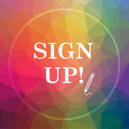 Sign up icon. Sign up website button on low poly background.