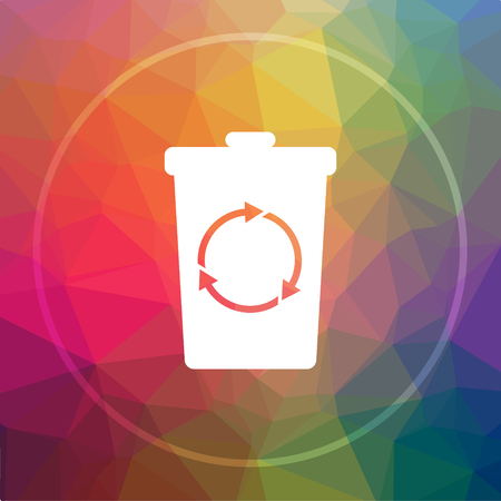 Recycle bin icon. Recycle bin website button on low poly background. Stock Photo