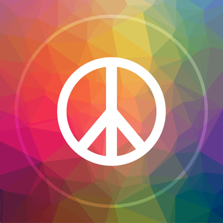in low spirits: Peace icon. Peace website button on low poly background. Stock Photo