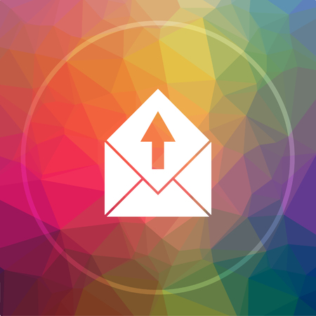 Send e-mail icon. Send e-mail website button on low poly background.