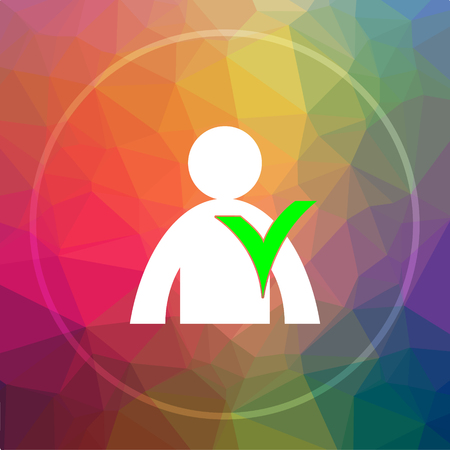 User online icon. User online website button on low poly background. Stock Photo