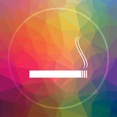 Cigarette icon. Cigarette website button on low poly background. Stock Photo