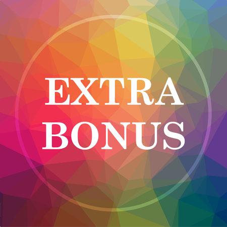 Extra bonus icon. Extra bonus website button on low poly background. Stock Photo
