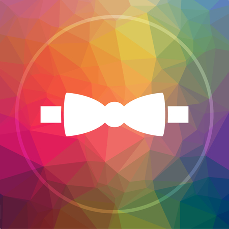 Bow tie icon. Bow tie website button on low poly background.