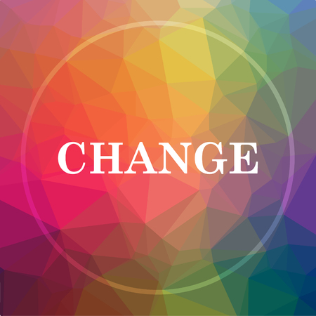 Change icon. Change website button on low poly background. Stock Photo