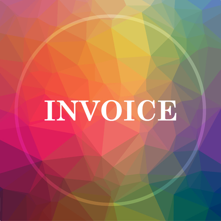 Invoice icon. Invoice website button on low poly background.