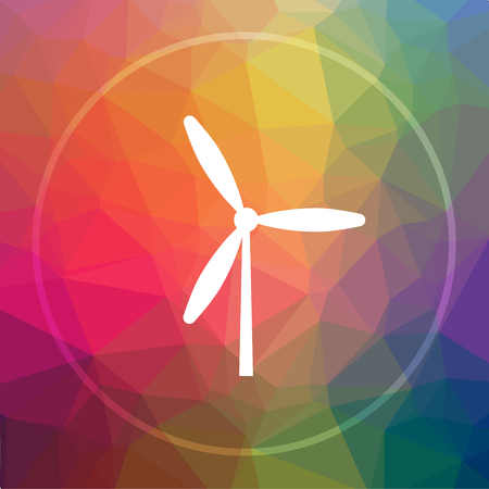 Windmill icon. Windmill website button on low poly background. Stock Photo