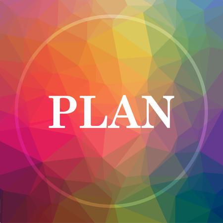 Plan pictogram. Plan website knop op laag poly achtergrond. Stockfoto