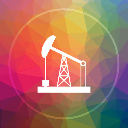 oil drum: Oil pump icon. Oil pump website button on low poly background.