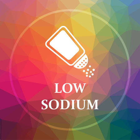 salt free: Low sodium icon. Low sodium website button on low poly background. Stock Photo