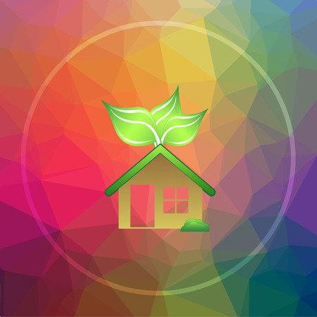 low energy: Eco house icon. Eco house website button on low poly background. Stock Photo