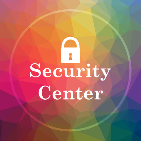 Security center icon. Security center website button on low poly background.