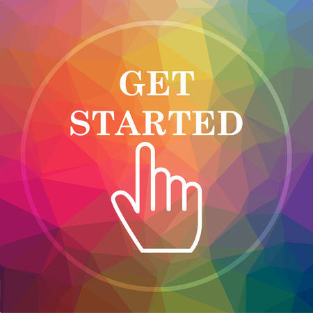Get started icon. Get started website button on low poly background.