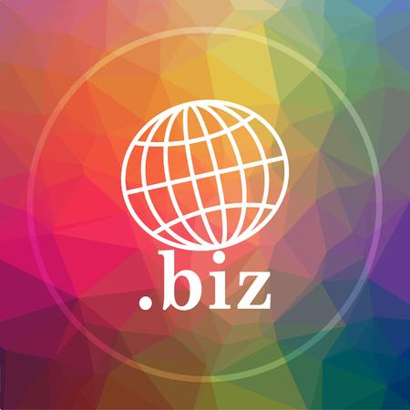 .biz icon. .biz website button on low poly background. Stock Photo