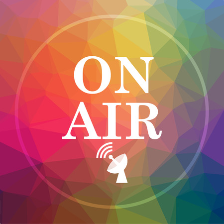 On air icon. On air website button on low poly background.