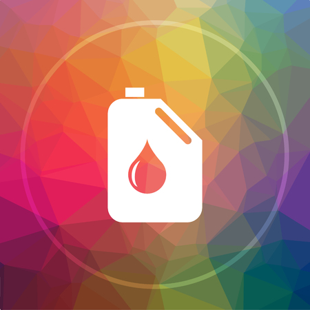 Oil can icon. Oil can website button on low poly background.