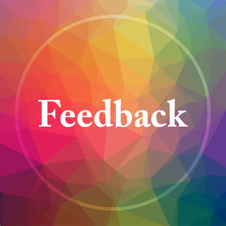Feedback icon. Feedback website button on low poly background.