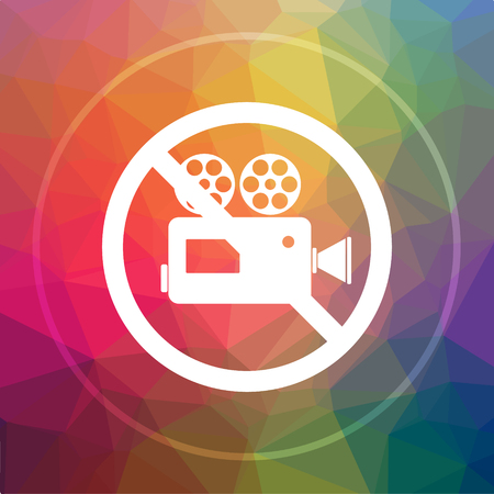 Forbidden video camera icon. Forbidden video camera website button on low poly background.