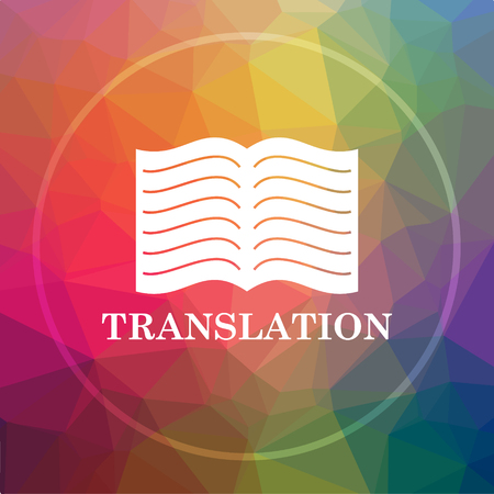Translation book icon. Translation book website button on low poly background.