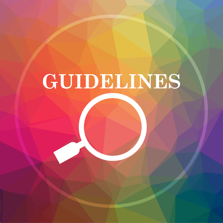 Guidelines icon. Guidelines website button on low poly background.