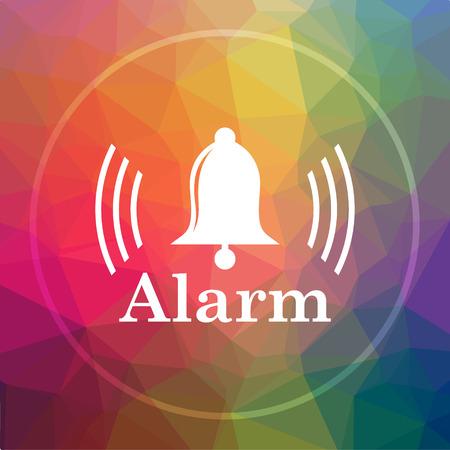 Alarm icon. Alarm website button on low poly background. Stock Photo