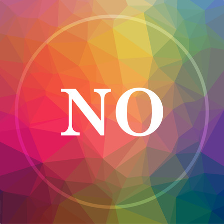 deny: No icon. No website button on low poly background. Stock Photo