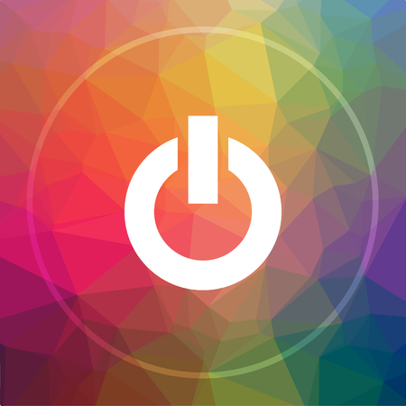 Power button icon. Power button website button on low poly background.