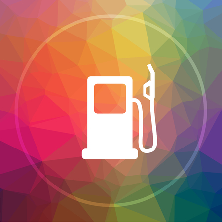 filling station: Gas pump icon. Gas pump website button on low poly background. Stock Photo